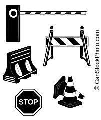 jogo, silueta, barreira, ícones, ilustração, vetorial, pretas, estrada