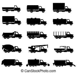 jogo, silueta, caminhões, semi, ícones, ilustração, vetorial, pretas, reboque