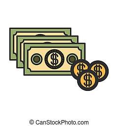 jogo, silueta, coloridos, dinheiro, moedas, contas