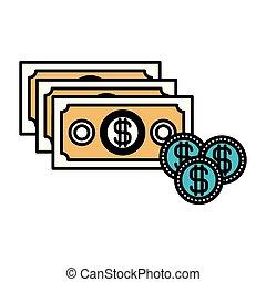 jogo, silueta, cor, dinheiro, moedas, contas, seções