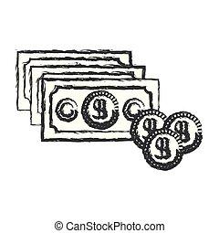jogo, silueta, dinheiro, moedas, obscurecido, monocromático, contas