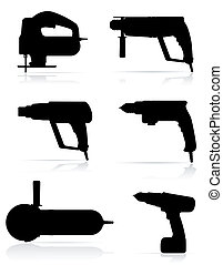jogo, silueta, elétrico, ícones, ilustração, vetorial, pretas, ferramentas