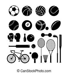jogo, silueta, equipamento, objetos, esportes