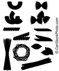 jogo, silueta, esboço, ícones, ilustração, vetorial, pretas, macarronada
