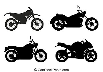 jogo, silueta, esboço, ícones, ilustração, vetorial, pretas, motocicleta