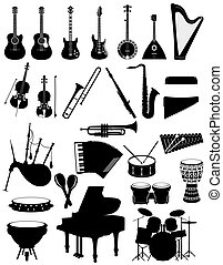 jogo, silueta, esboço, ícones, instrumentos, ilustração, vetorial, pretas, musical, estoque