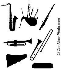jogo, silueta, esboço, ícones, instrumentos, ilustração, vetorial, pretas, musical, vento, estoque