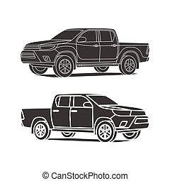 jogo, silueta, esboço, ilustração, pickup, vetorial, caminhão, pretas, ícone