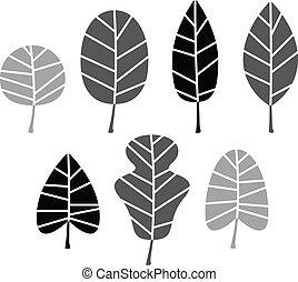 jogo, silueta, folhas, isolado, vetorial, pretas, white.