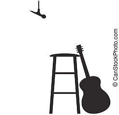 jogo, silueta, guitarrista, tamborete, cima, gravando, ...