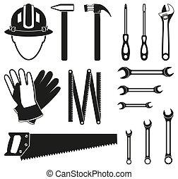 jogo, silueta, handyman, pretas, 15, branca, ferramentas