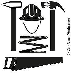 jogo, silueta, handyman, pretas, 5, branca, ferramentas