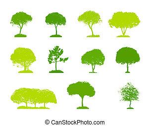 jogo, silueta, illu, árvore, isolado, vetorial, branca, backgorund.