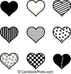 jogo, silueta, ilustração, vetorial, pretas, corações, ícone