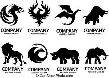 jogo, silueta, logotipo, animais, vetorial, simples