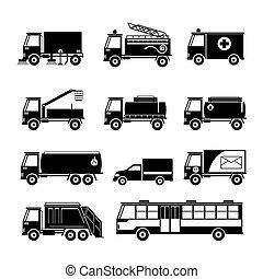 jogo, silueta, objeto, veículos, utilidade pública