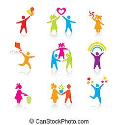 jogo, silueta, pessoas, criança, homem, ícones, -, símbolo.,...