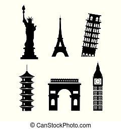 jogo, silueta, torres, global, férias, explorar