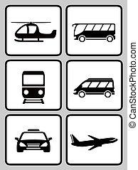 jogo, silueta, transporte, ícones