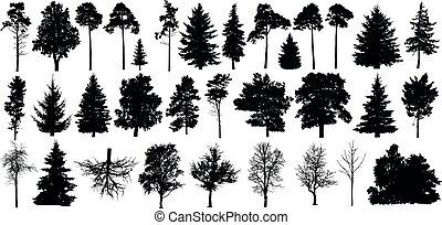 jogo, silueta, vector., árvore, isolado, árvores, floresta preta, fundo, branca