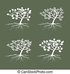 jogo, simples, árvores., símbolo, árvore, ilustração, ambiental, vetorial, ícone