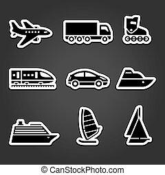 jogo, simples, adesivos, transporte, ícones