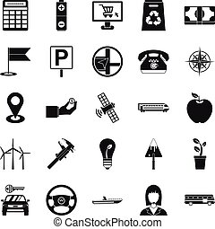jogo, simples, engenharia, estilo, ícones