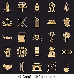 jogo, simples, estilo, afortunado, ícones