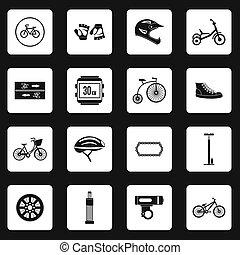 jogo, simples, estilo, bicycling, ícones