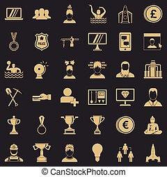 jogo, simples, estilo, liderança, ícones