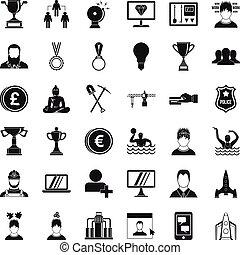 jogo, simples, estilo, solução, ícones
