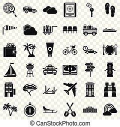 jogo, simples, estilo, transporte, ícones