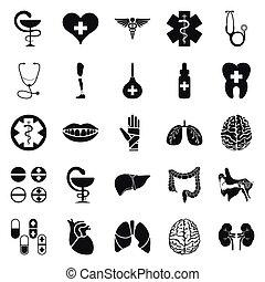 jogo, simples, médico, pretas, branca, ícone