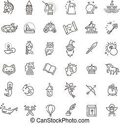 jogo, simples, relatado, fantasia, vetorial, linha, ícone