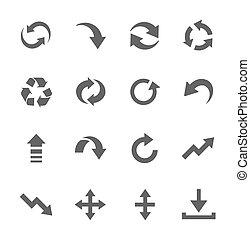 jogo, simples, setas, relatado, interface, ícone