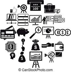 jogo, simples, stockbroker, estilo, ícones