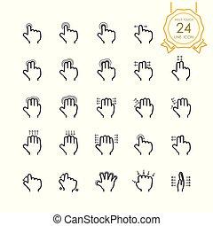 jogo, simples, stroke), toque, scroll, push., swipe, dedo, ícone, tela, (editable, símbolo, tabuleta, ilustração, mão, touchpad, zoom, linha, dispositivos, móvel, multi, torneira, vetorial, ou, gesto