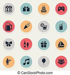 jogo, simples, tom, lemon., ilustração, celebração, icons., palha, synonyms, vetorial, confetti, outro, bolo, elementos, vinho