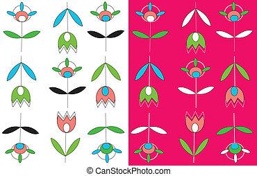 jogo, simples, tulips, seamless, desenho, padrão