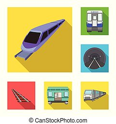 jogo, sinal., trem, web., ilustração, vetorial, maneira, ferrovia, símbolo, estoque