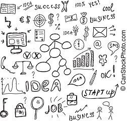 jogo, sketch., ícones negócio, ilustração, mão, vetorial, sinais, desenho, style.