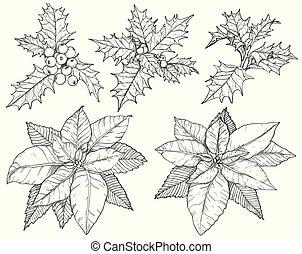 jogo, sketch., pretas, flores brancas, natal