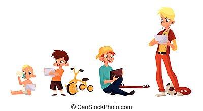 jogo, smartphone, crianças, tabuleta, ou