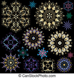 jogo, snowflakes, coloridos