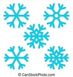 jogo,  Snowflakes,  -, isolado, vetorial, fundo, branca,  Snowflake
