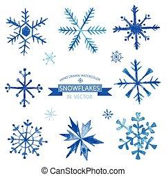 jogo, snowflakes, -, mão, aquarela, vetorial, desenhado