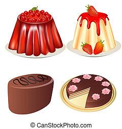 jogo, sobremesa, geléia, com, cereja, e, morangos, bolo, e,...