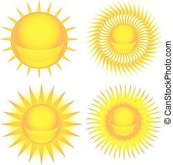 jogo sol, coloridos, ícone