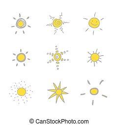 jogo sol, -, desenhos, freehand