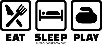 jogo, sono, curling, comer